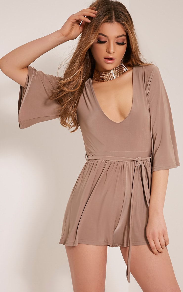 Sharnah Taupe Kimono Sleeve Plunge Playsuit 1