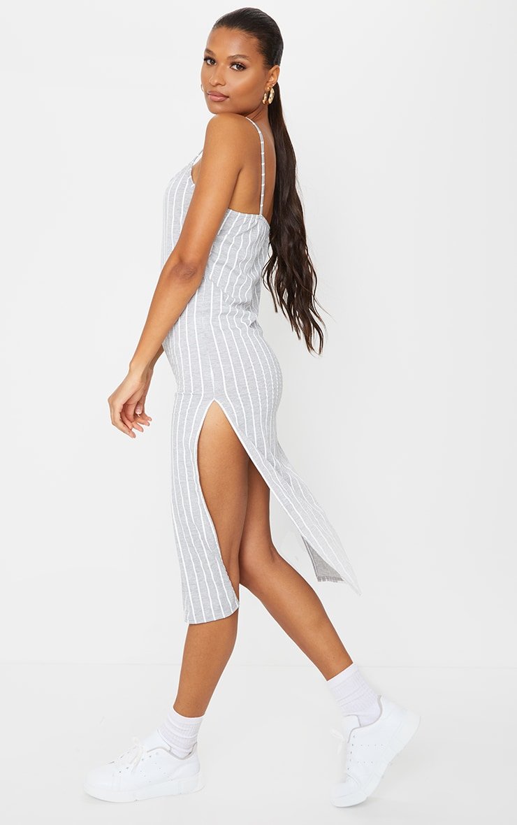 Grey Stripe Jersey Split Cami Midi Dress 2