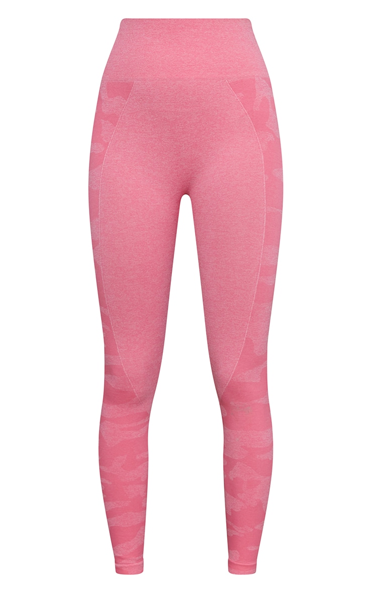 Pink Seamless Camo Panel Gym Leggings 5