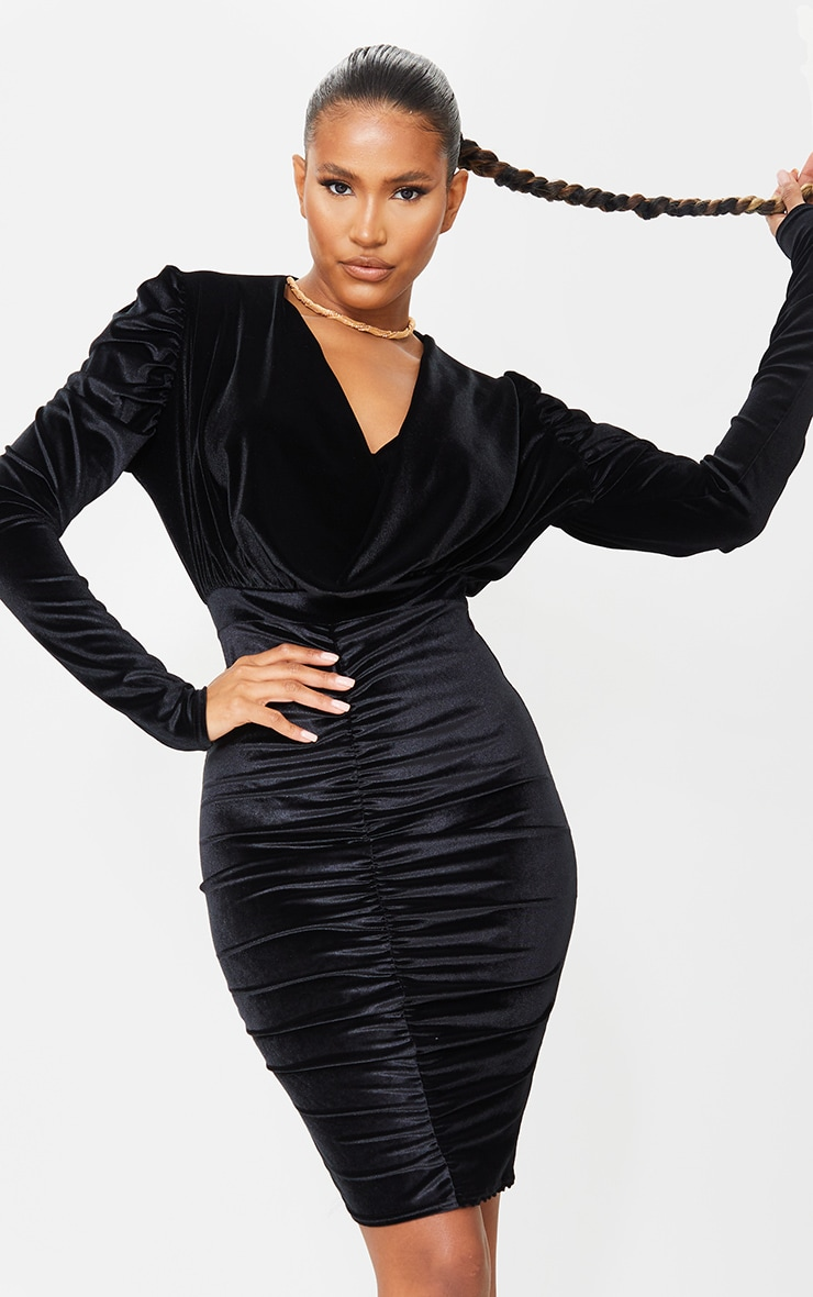 Black Velvet Cowl Ruched Long Sleeve Midi Dress 1
