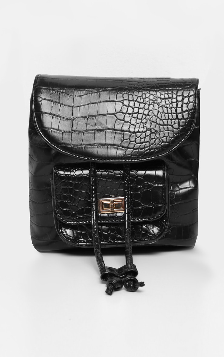 Black Croc Medium Backpack 2