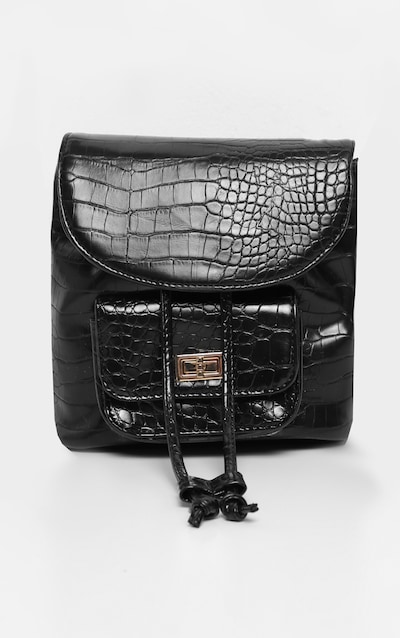 Black Croc Medium Backpack