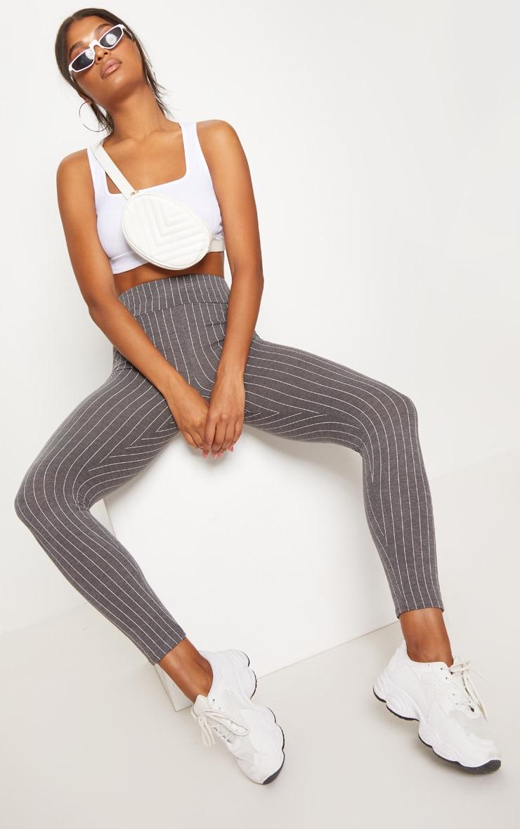 Grey Pinstripe High Waisted Legging  1