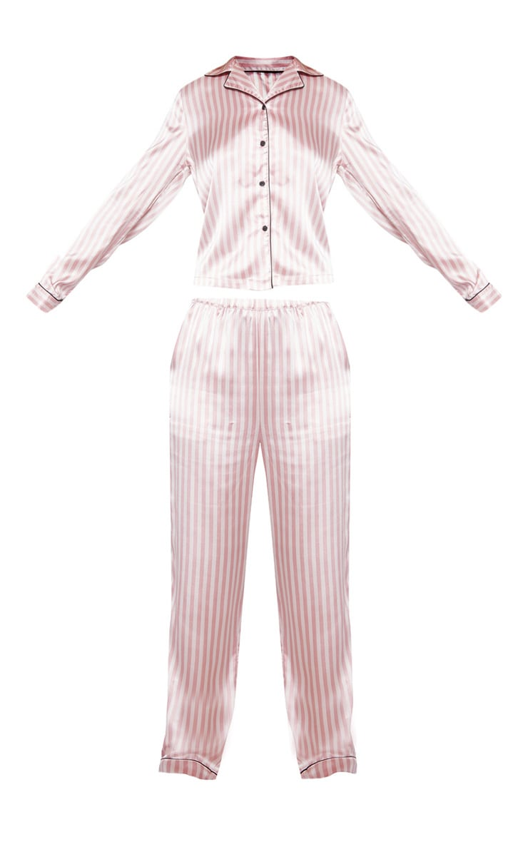 Baby Pink Long Striped Satin Pyjama Set 3