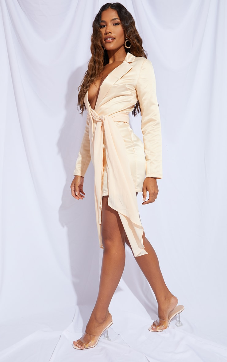 Champagne Satin Chiffon Drape Blazer Dress 3