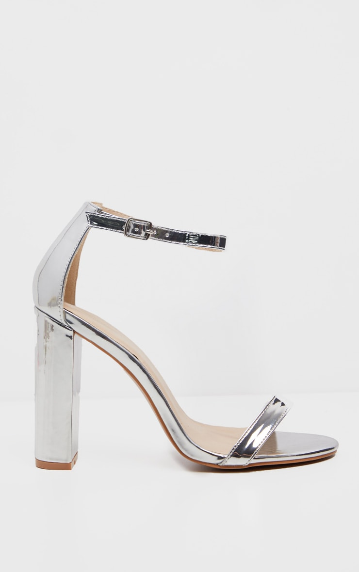 May Silver Block Heeled Sandal 2
