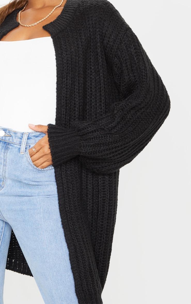 Black Premium Fluffy Chunky Knit Balloon Sleeve Midi Cardigan 4