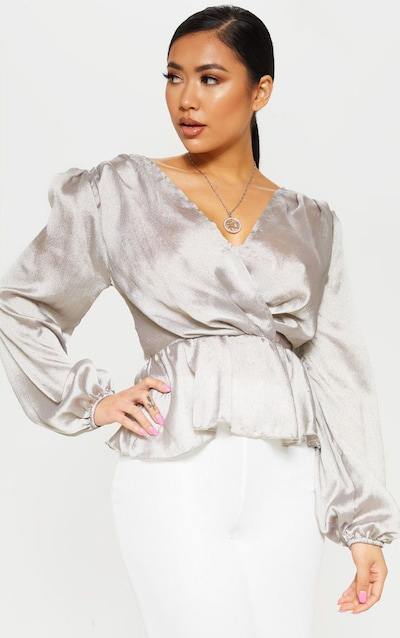 188191562dacc Petite Silver Deep V Wrap Front Long Sleeve Blouse PrettyLittleThing Sticker