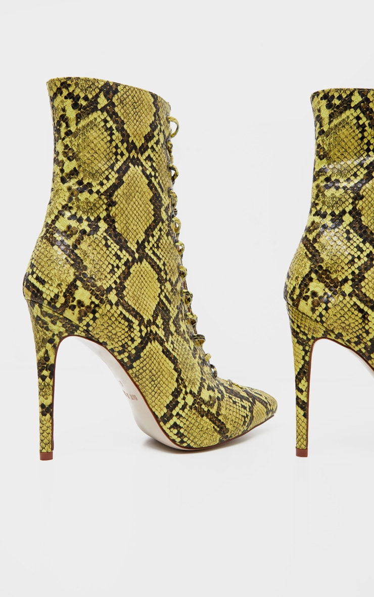 Lime Snake Lace Up High Point Ankle Boot 4