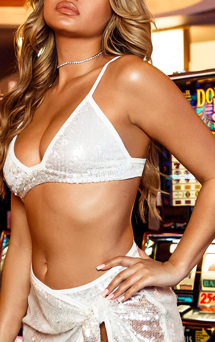White Sequin Plunge Bikini Top 4