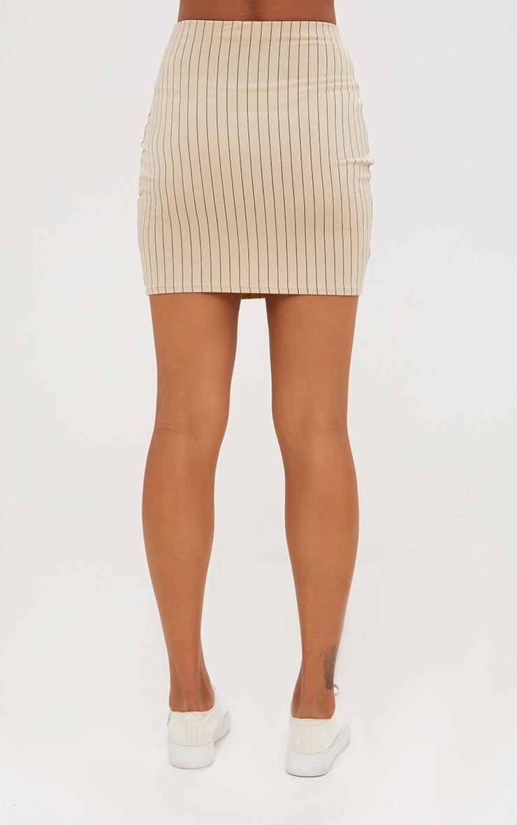Stone Jersey Pinstripe Mini Skirt 4