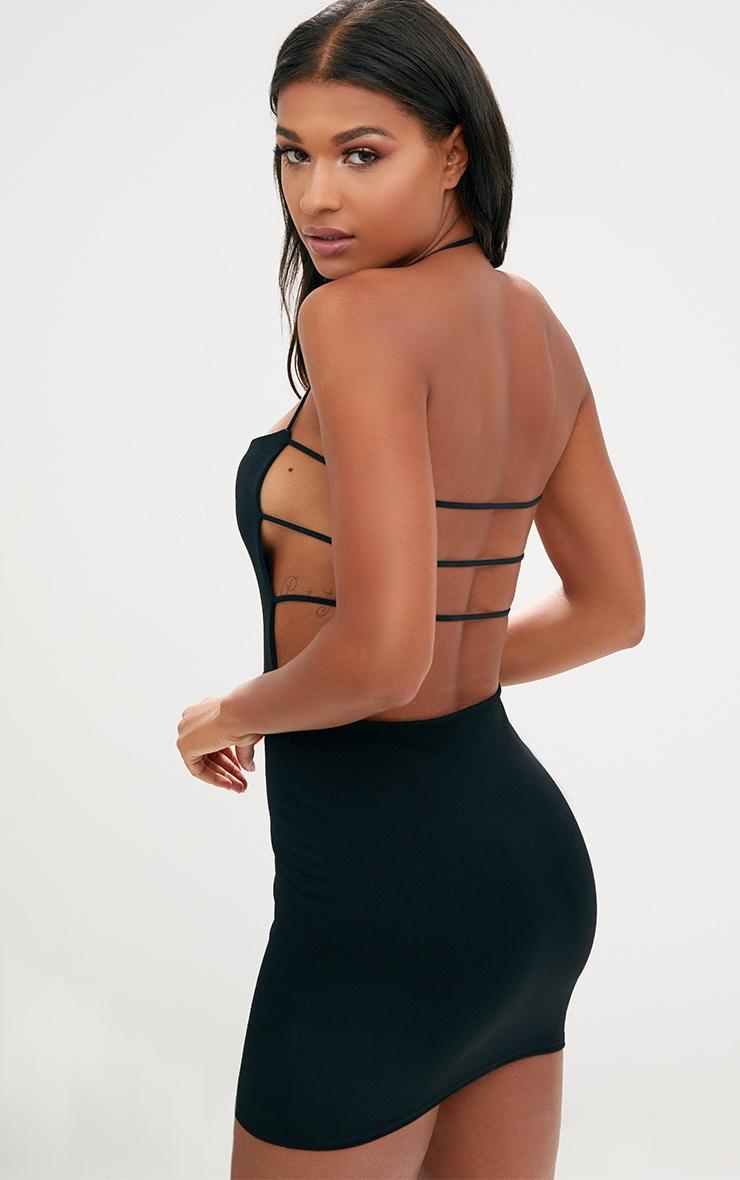 Black strappy straight neck bodycon dress kissing