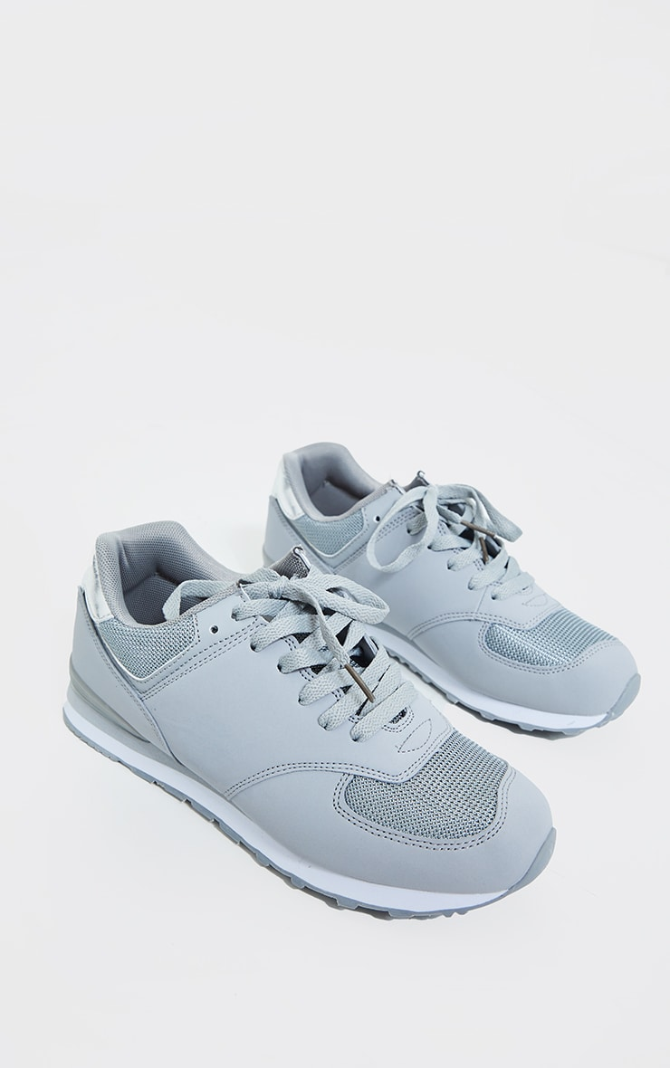 Grey Mesh Contrast Sports Trainers 4