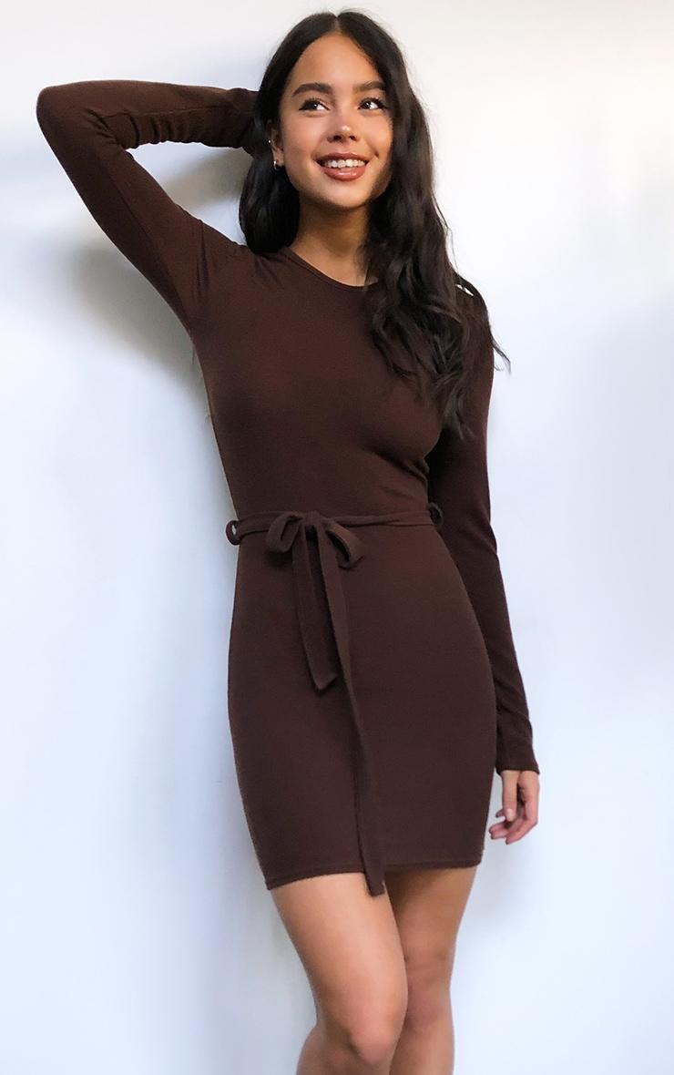 Chocolate Rib Long Sleeve Tie Waist Bodycon Dress 1