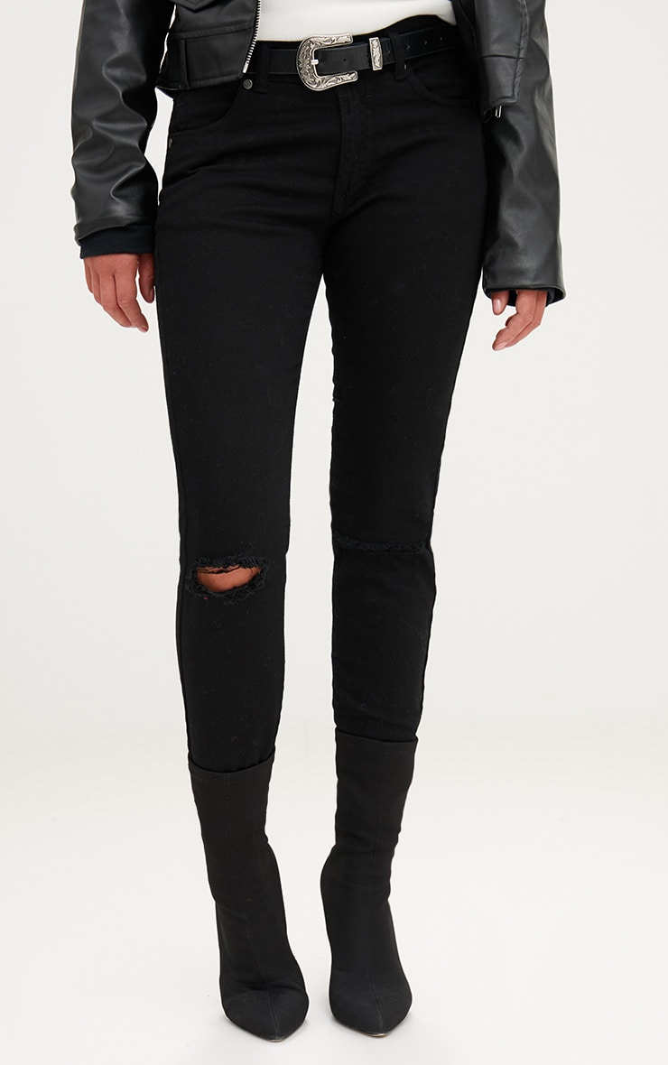 Black Frayed Hem Knee Rip Skinny Jean 2