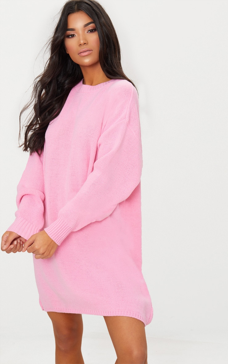 3656ce47f6b Pink Oversized Knitted Jumper Dress image 1