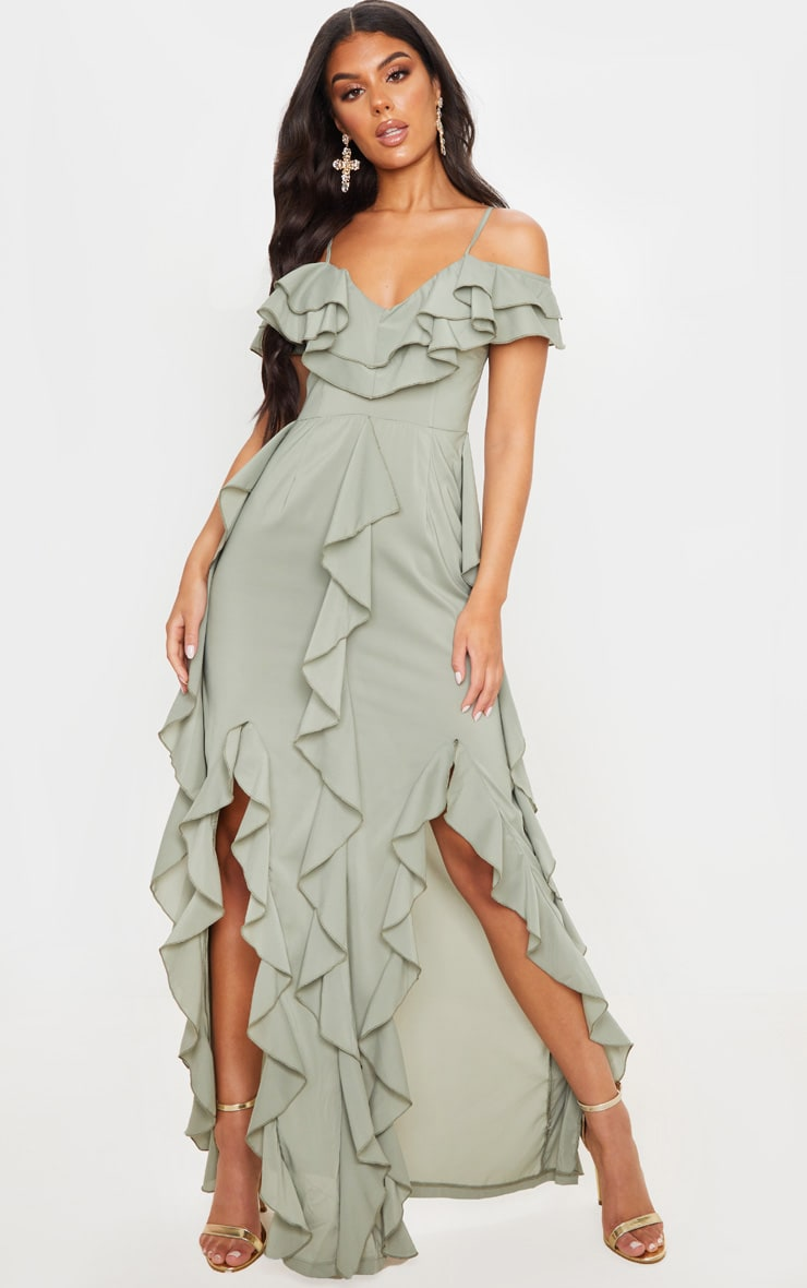 Sage Green Cold Shoulder Ruffle Detail Maxi Dress 1