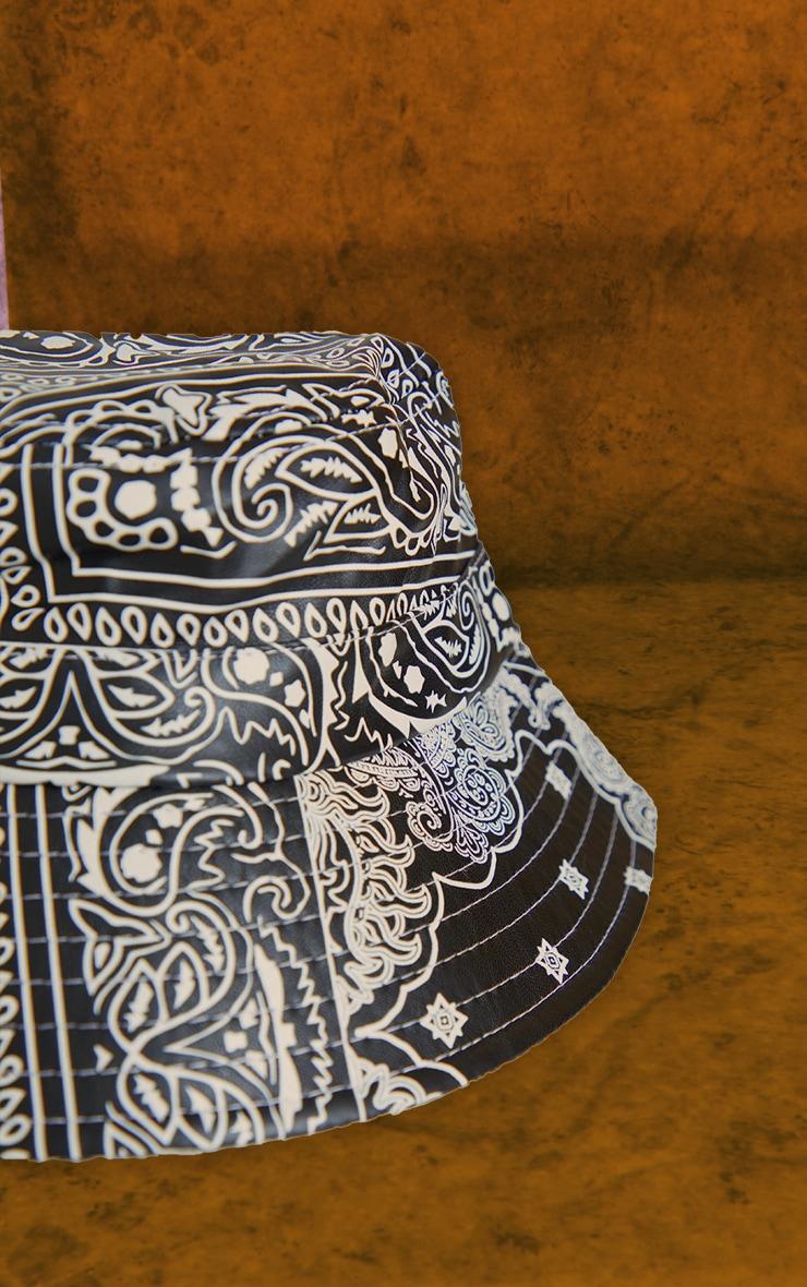 Black Unisex Paisley PU Bucket Hat 3