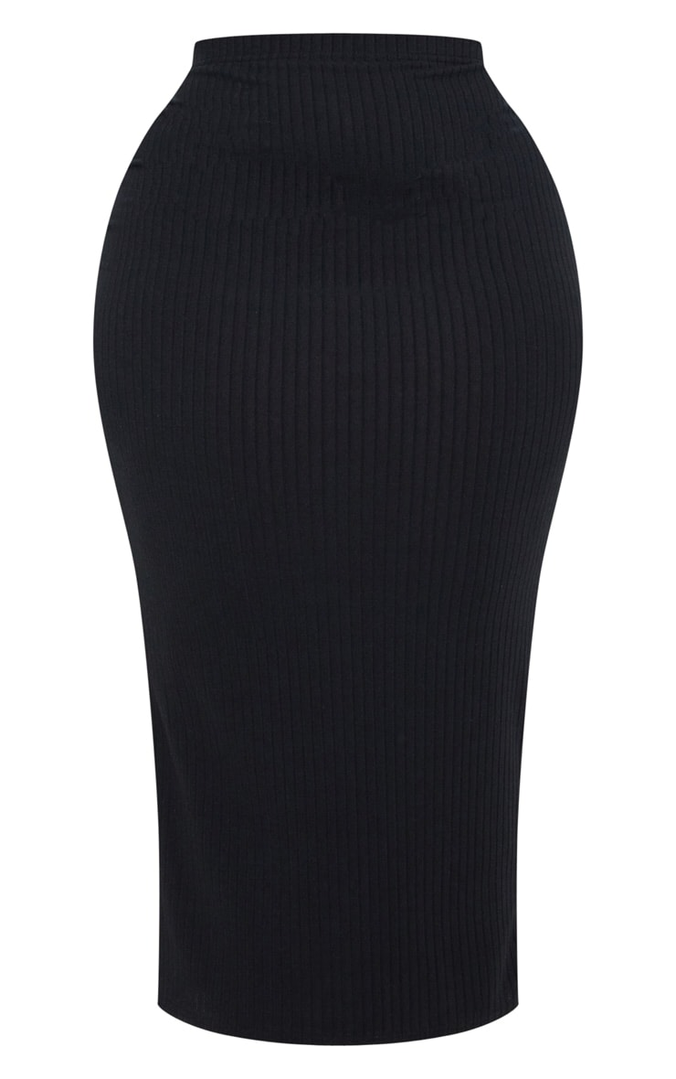 Plus Black Rib High Waisted Midi Skirt 3