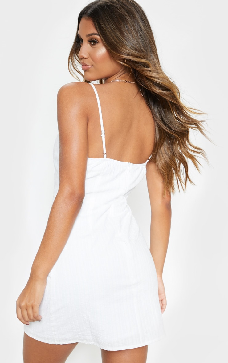 White Textured Wooden Button Tea Dress 2