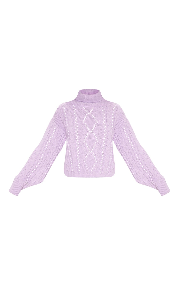 Lilac Cut Out Detail Roll Neck Jumper 3