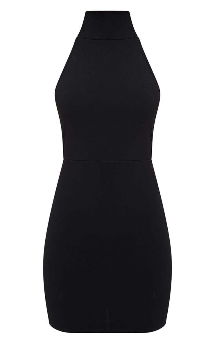 Black Lace Up Back Extreme High Neck Detail Bodycon Dress 3
