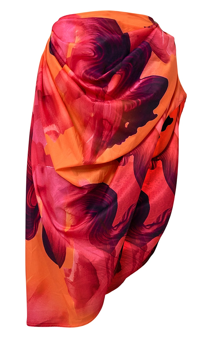 Orange Ruched Side Abstract Print Midi Skirt 5