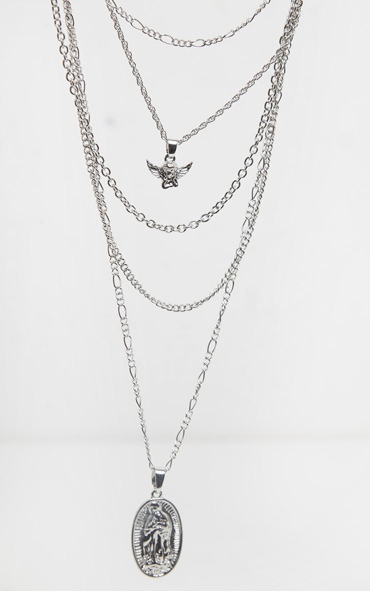 Collier à chaînes superposées argentées à pendentif chérubin 3