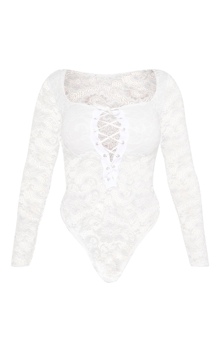 Shape White Lace Long Sleeve Lace Up Bodysuit 3