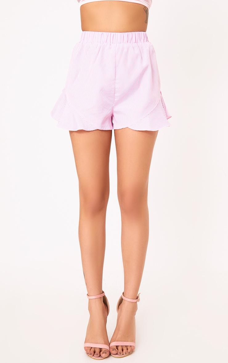 Charise Pink Pinstripe Frill Hem Shorts 2
