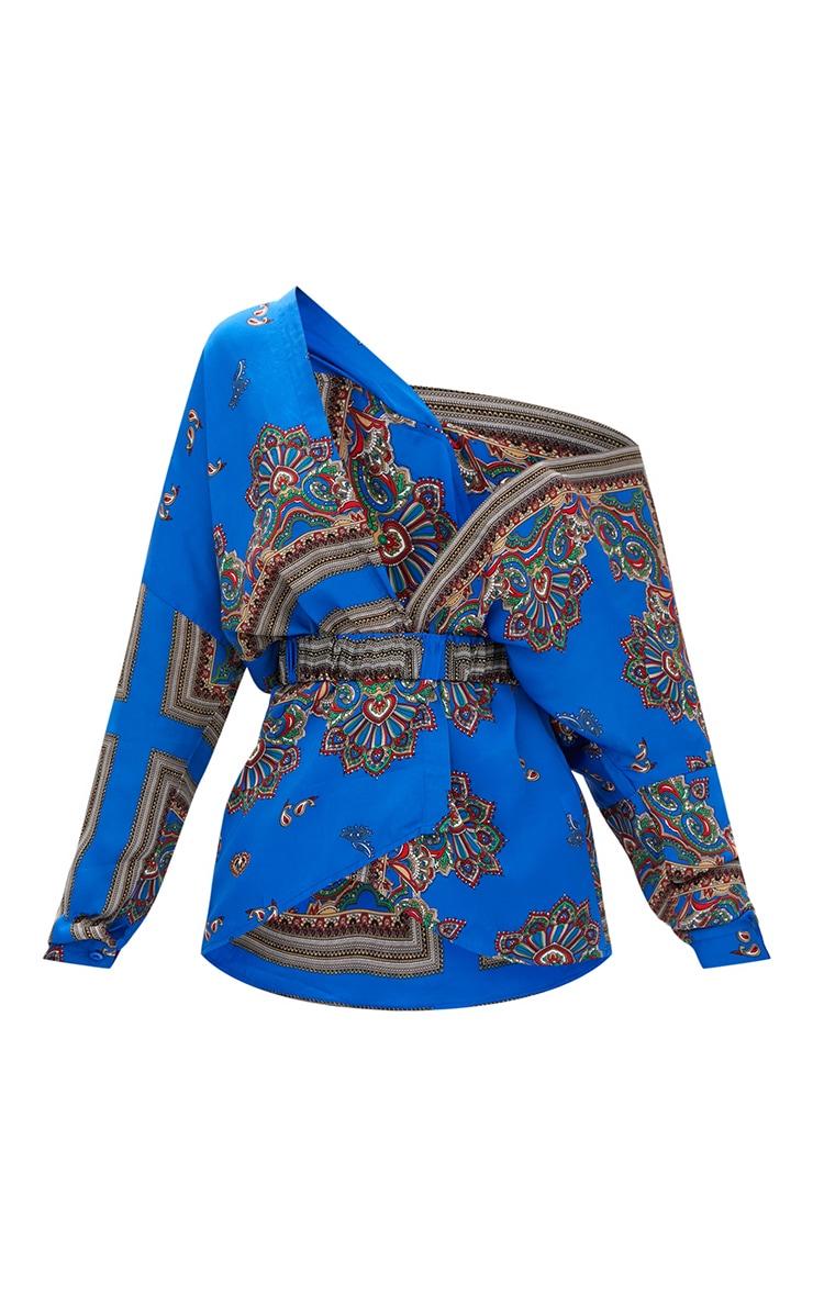 68baf159f55451 Blue Scarf Print Off Shoulder Belted Blouse. Tops | PrettyLittleThing