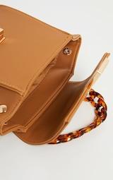 Tan Square Mini Bag Tortoiseshell Chain Handle 4
