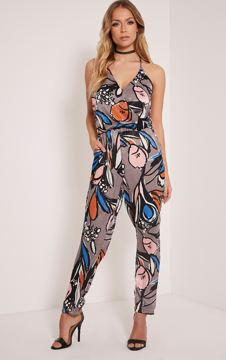 Laren Grey Silky Jungle Print Jumpsuit 1