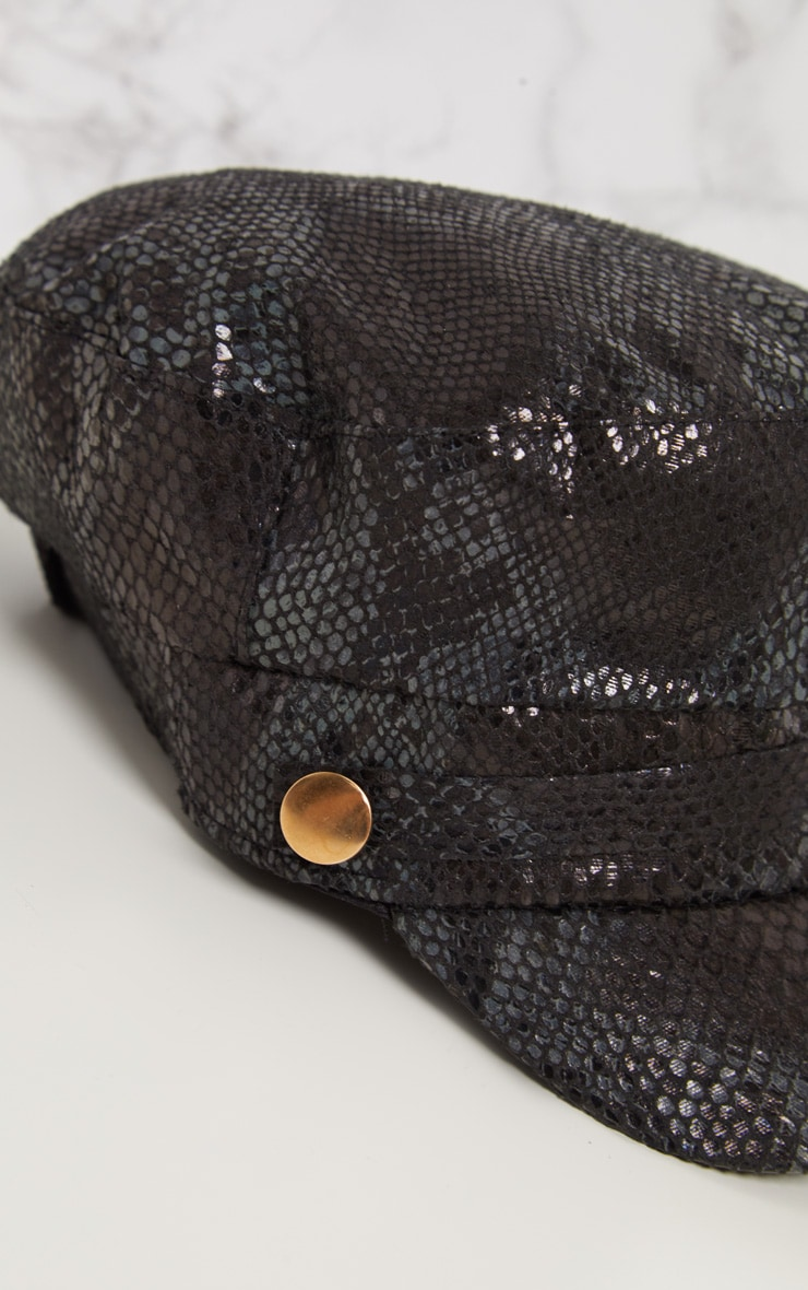 Black Snake Baker Boy Hat 6