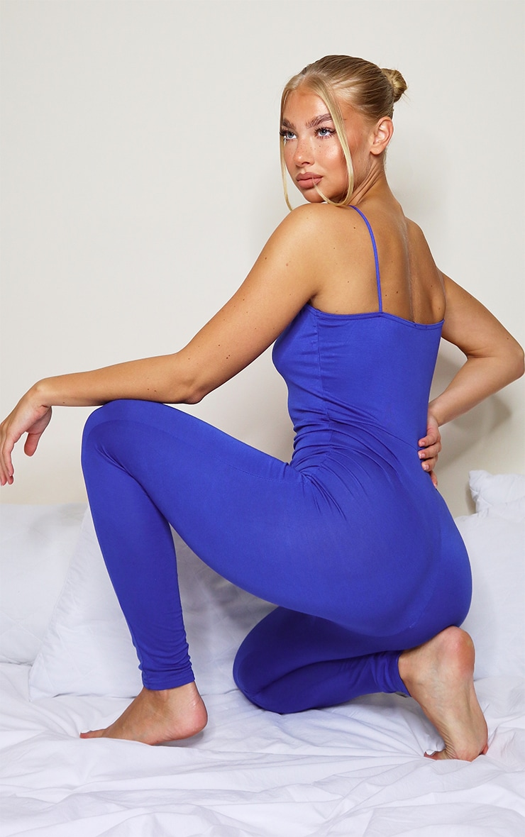 Blue Basic Strappy Jumpsuit 2