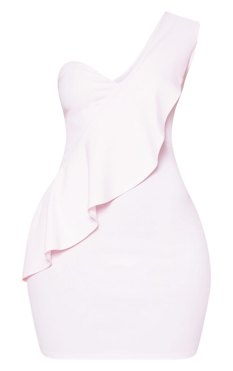 Baby Pink Ruffle Detail Bodycon Dress 3