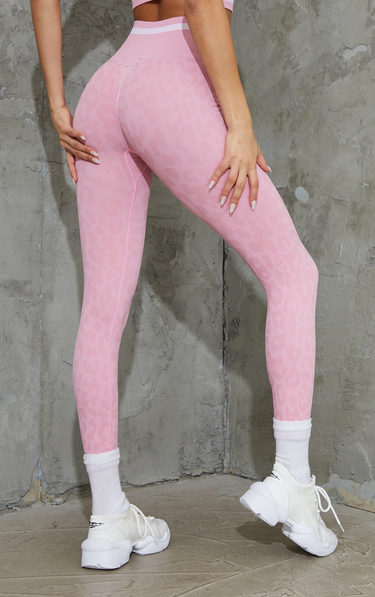 Pink Seamless Leopard Stripe Detail Gym Leggings 3