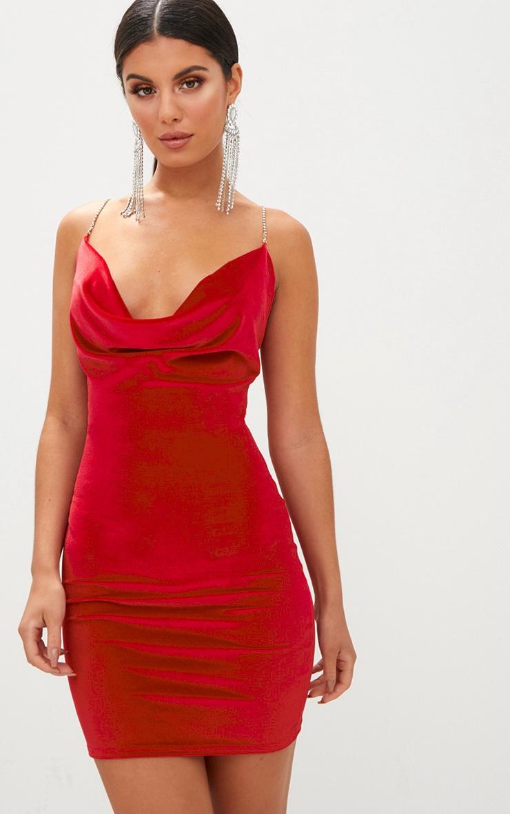Red Velvet Cowl Neck Diamante Strap Bodycon Dress 1