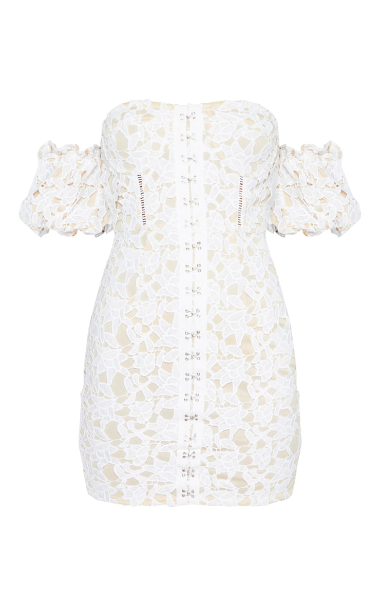 White Embroidered Lace Puff Sleeve Hook & Eye Bodycon Dress 3