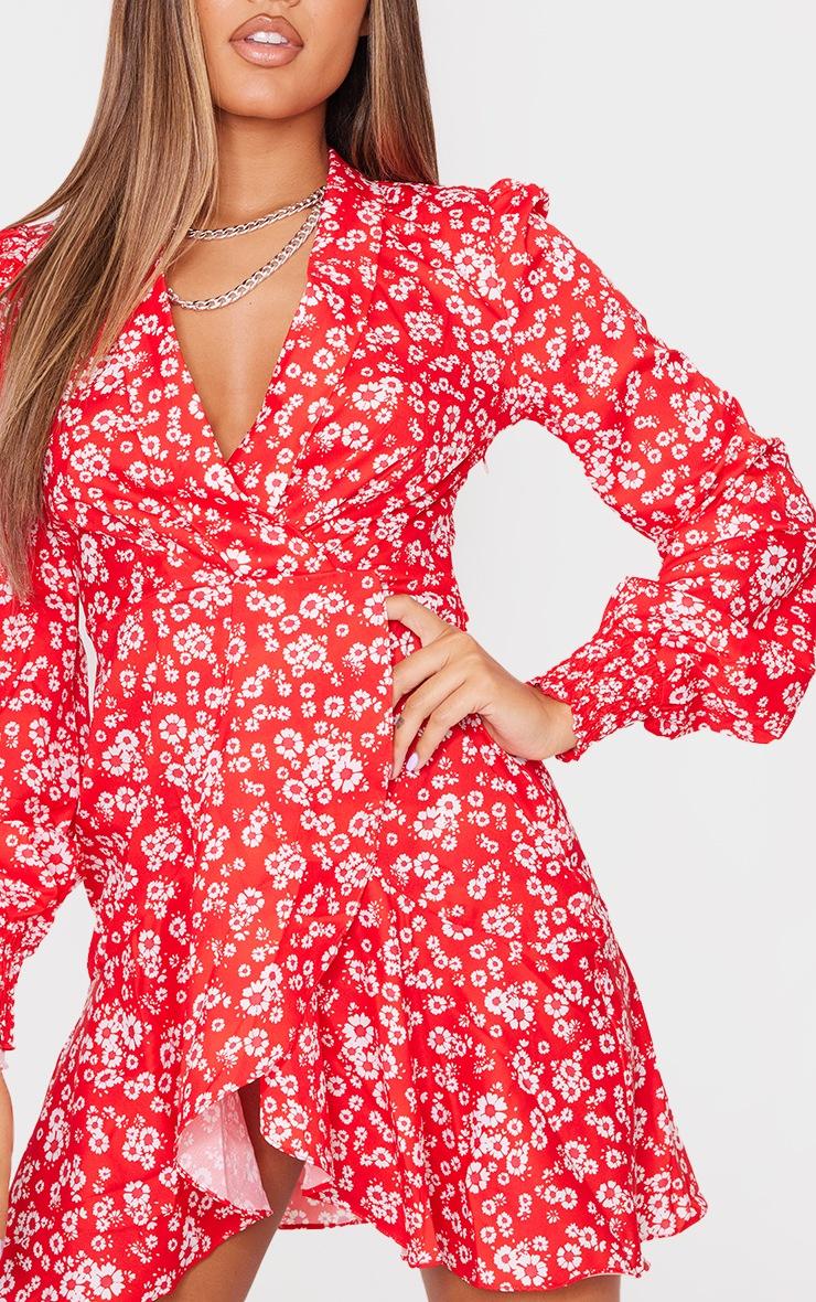Red Ditsy Print Frill Edge Detail Tea Dress 4