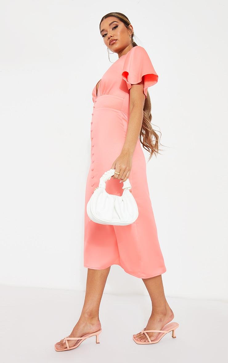 Pink Satin Plunge Button Detail Midi Dress 3