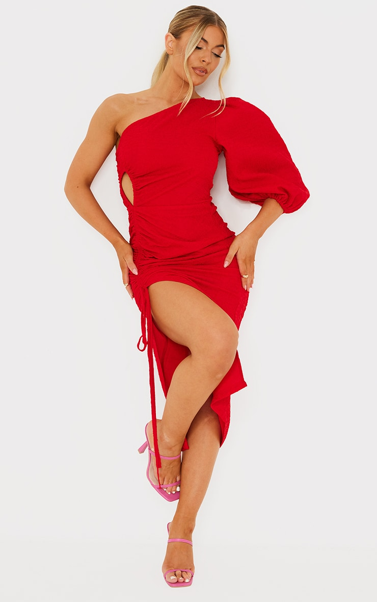 Red Crinkle Ruched One Shoulder Cut Out Midi Dress 3