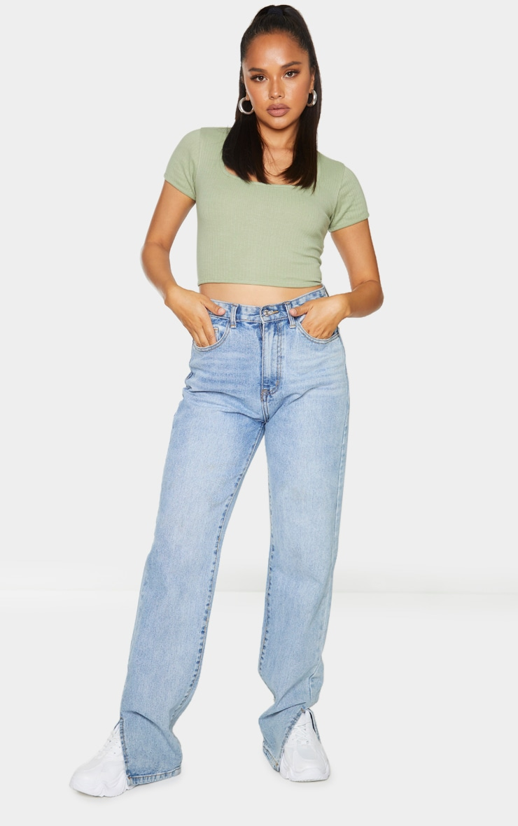 Olive Open Back Rib Crop Top 3