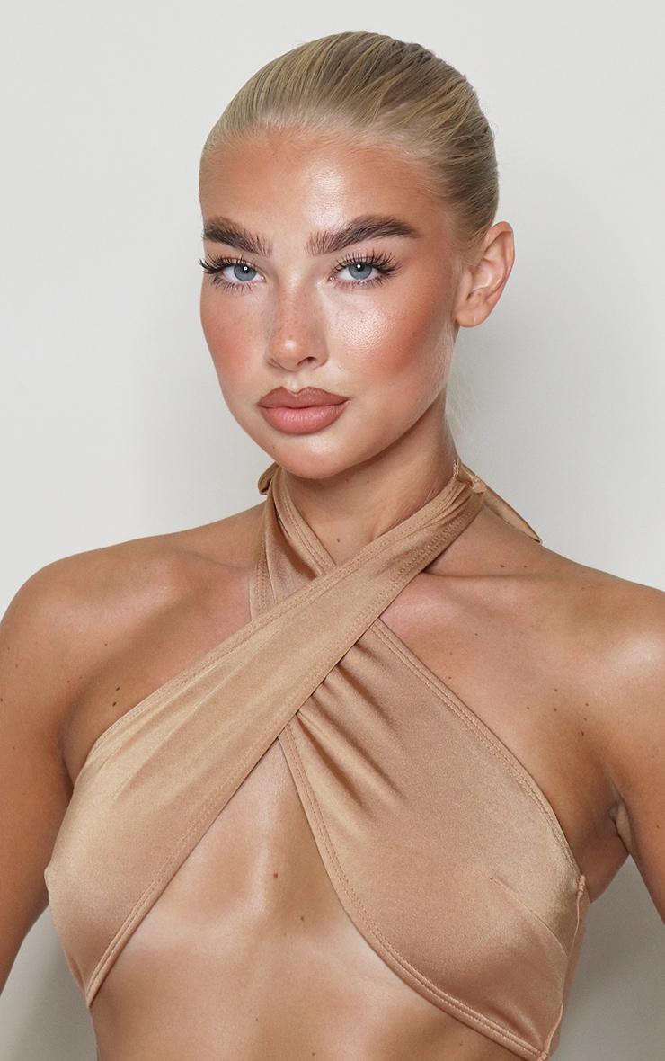 Mocha Cross Over Halterneck Bikini Top 4