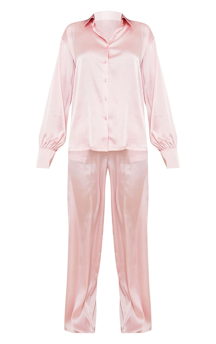 Pink Oversized Long Satin PJ Set 5