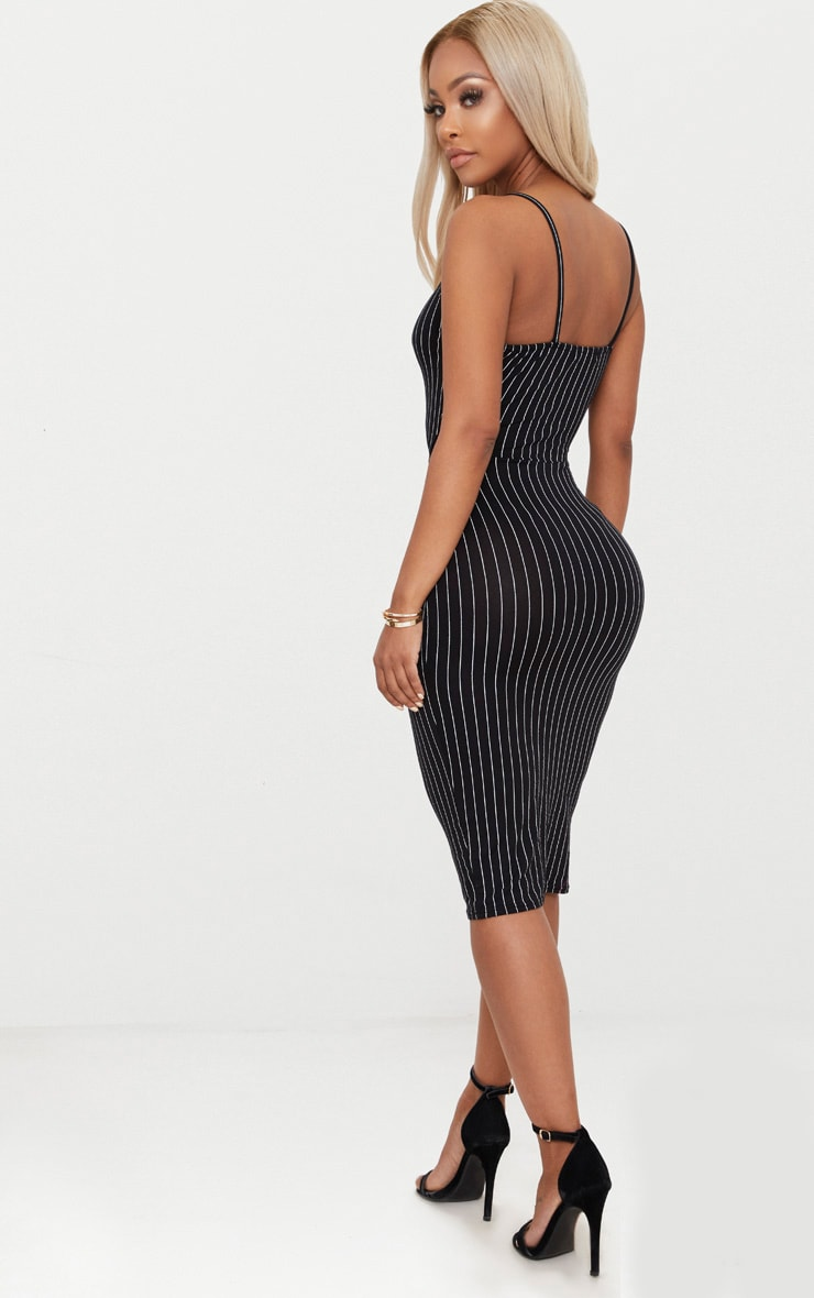 Shape Black Pinstripe Cut Out Midi Dress 4
