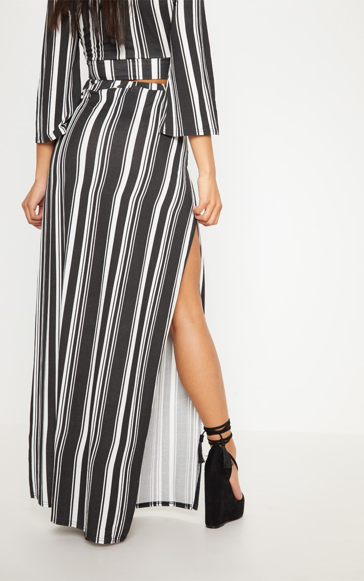 Black Jersey Extreme Split Maxi Skirt 4