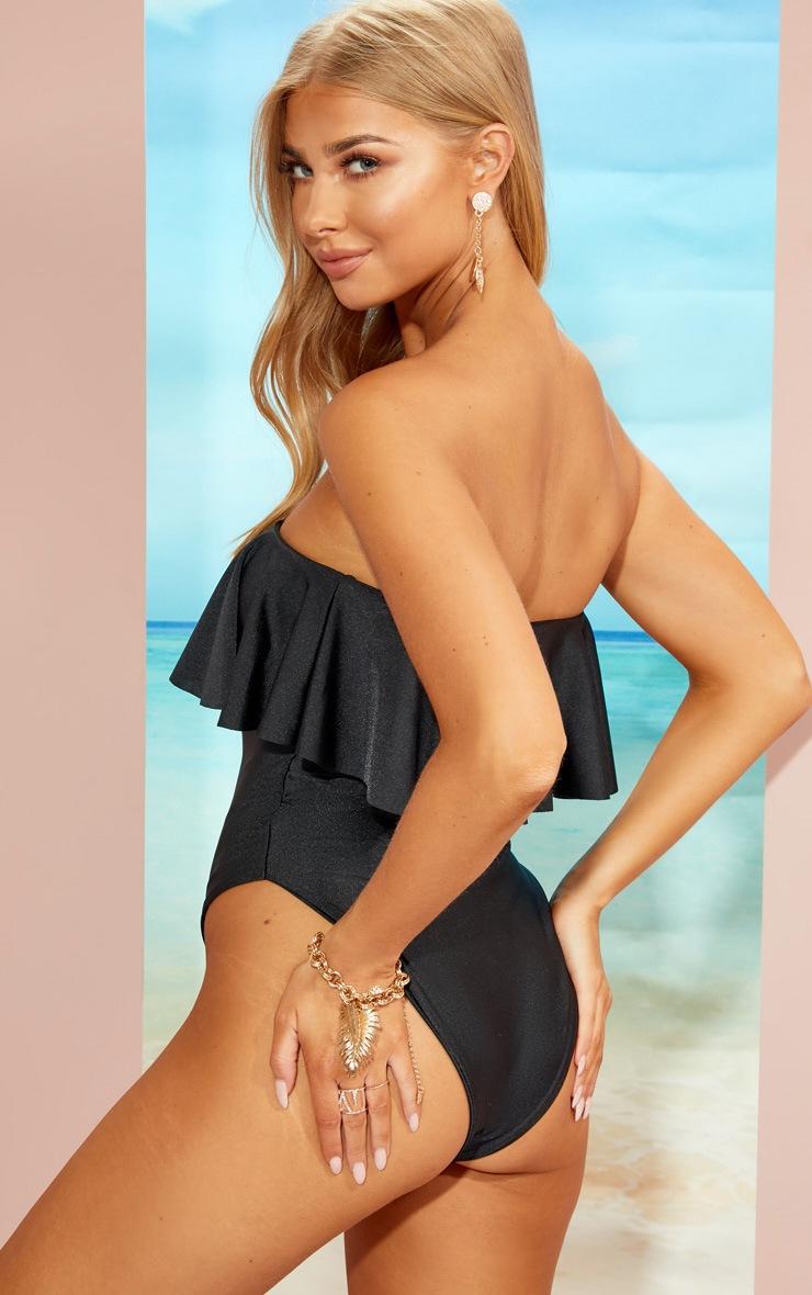 Black Strapless Frill Swimsuit 2