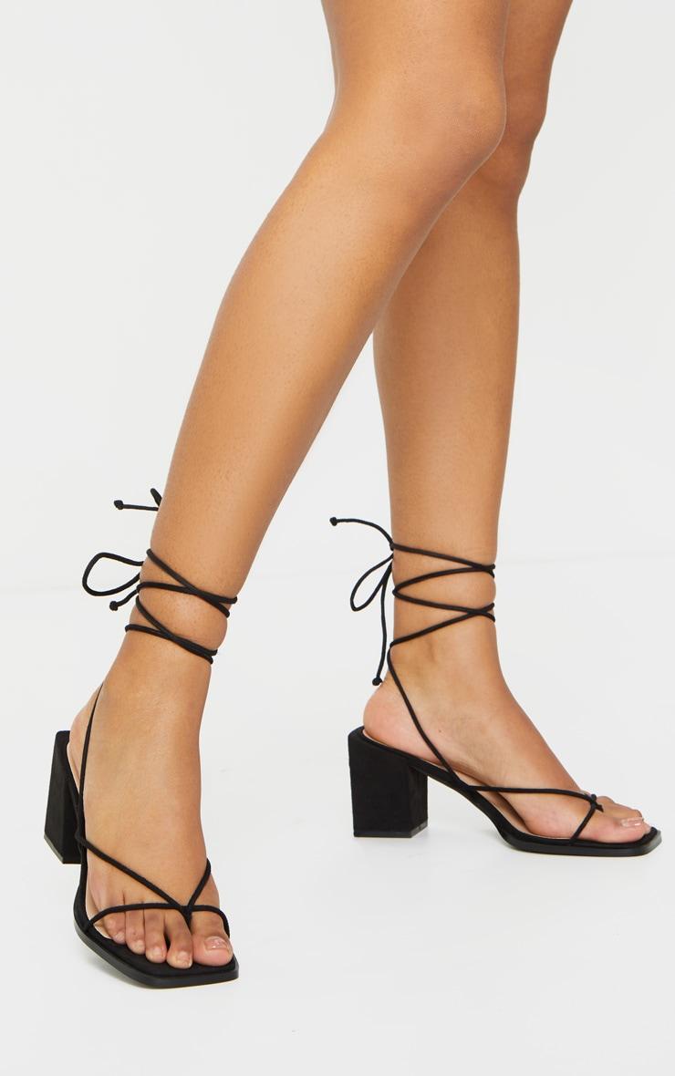 Black Square Toe Block Heel Strappy Toe Thong Sandals 2