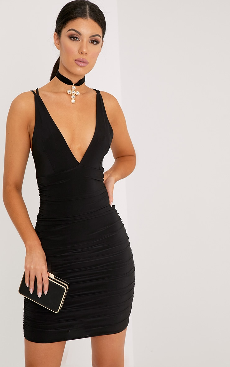 Agness Black Cross Back Ruched Bodycon Dress
